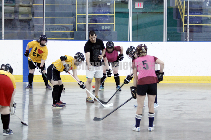 ladies ball hockey action